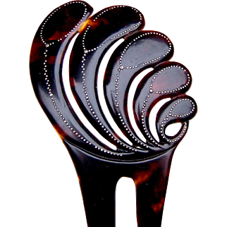 Leaf design hair comb gold pique faux tortoiseshell hair accessory