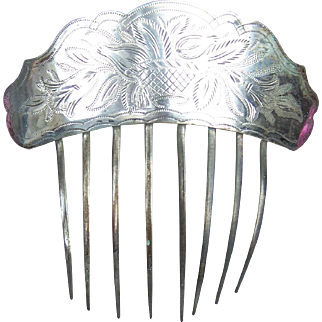 Early Victorian hair comb silver plated Spanish style hair accessory