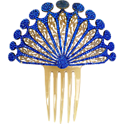 Art Deco hair comb Spanish style blue rhinestone celluloid hair accessory