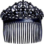 French jet hair comb Victorian mourning hair accessory