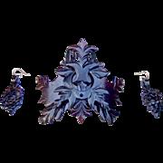 Dyed steer horn hair comb earrings set Victorian hair accessories headdress, headpiece, hair jewelry hair ornament