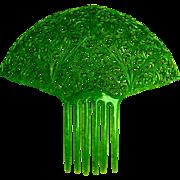 Jade green hair comb green celluloid Spanish style Art Deco hair accessory