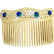 Art Nouveau hair comb French Ivory peacock stone hair accessory