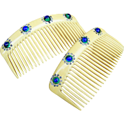 Matched pair Art Nouveau hair combs French Ivory peacock stone hair accessories