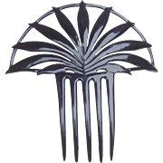 Art Deco hair comb black celluloid Spanish style hair accessory