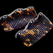 Pair of Edwardian hair combs faux tortoiseshell rhinestone hair accessories