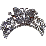Victorian cut steel hinged hair comb figural butterfly tiara hair accessory