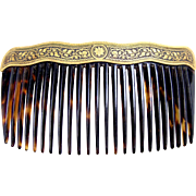 Late 19th century Damascene work hair comb faux tortoiseshell hair accessory