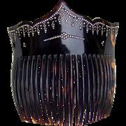 Victorian hair comb faux tortoiseshell pique hair accessory