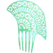 Art Deco hair comb jade green celluloid Spanish style hair accessory