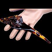 Single pronged faux tortoiseshell pique hair comb or dagger hair accessory