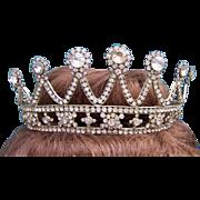 Mid century rhinestone bridal or theatrical tiara hair accessory or wedding headdress