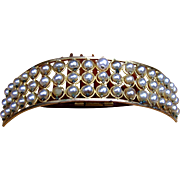 Victorian hair comb faux pearl hinged tiara comb hair accessory