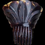 Regency natural pressed tortoiseshell hair comb Spanish style hair accessory
