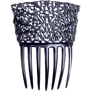 Victorian mourning hair comb black celluloid Spanish style hair accessory