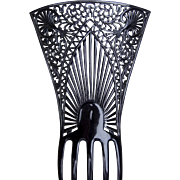 Oversized Art Deco hair comb black celluloid Spanish mantilla style hair accessory