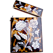 Tortoiseshell and mother of pearl visiting card case