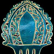 Art Deco hair comb turquoise moiré effect Spanish style hair accessory