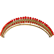 Regency tiara gilded filigree with faceted coral beads hair accessory