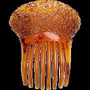 Victorian hair comb amber pierced horn Spanish mantilla style hair accessory