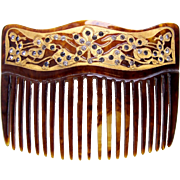 Victorian hair comb faux tortoiseshell with gold decoration hair accessory