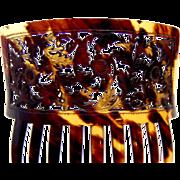 Victorian Spanish style hair comb pierced natural tortoiseshell hair accessory