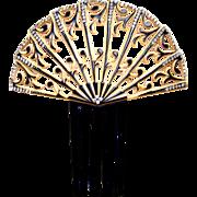 Art Deco Spanish style hair comb celluloid overlay hair accessory
