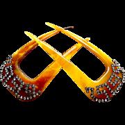 Matched pair horn hair combs Victorian rhinestone hair accessories