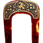 Late Victorian hair comb with damascene decoration hair accessory