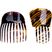 Two Victorian hair combs Spanish style faux tortoiseshell hair accessories
