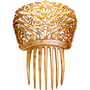 Victorian steer horn openwork mantilla style hair comb hair accessory