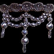 Cut steel with dangles hair comb Victorian Moorish style hair accessory