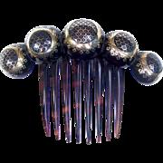 Victorian tortoiseshell hair comb pique inlay balls design hair accessory