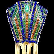 Egyptian Revival hair comb Art Deco multi rhinestone hair accessory