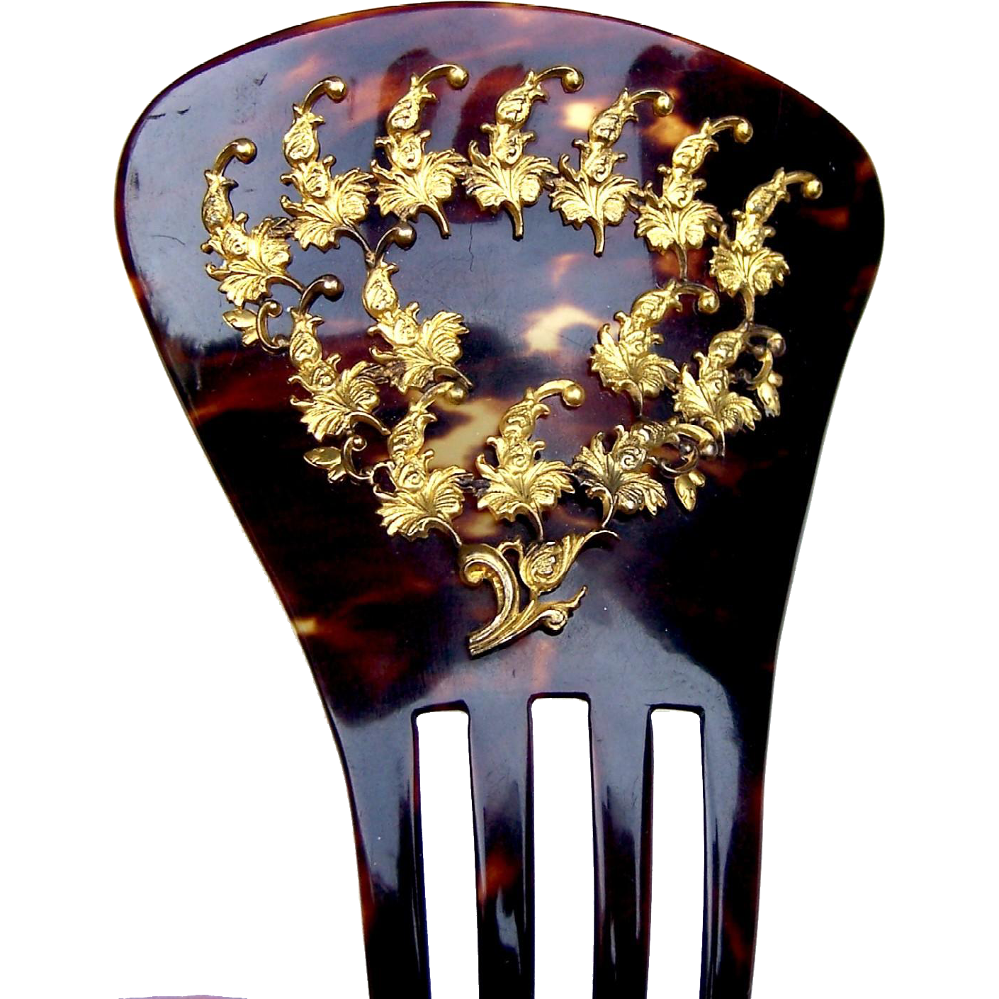 Victorian faux tortoiseshell wedge shape hair comb hair accessory