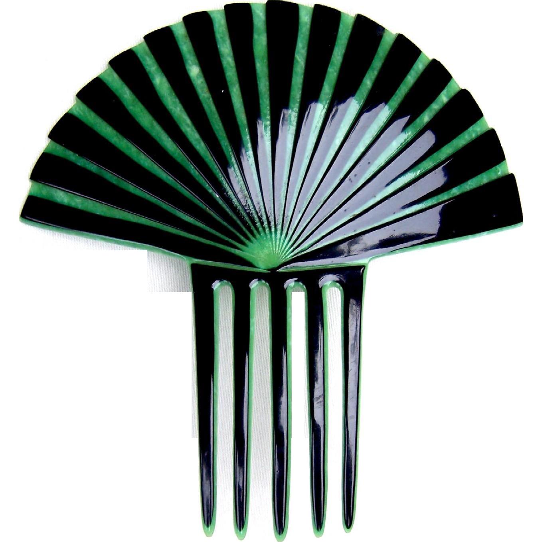 Art Deco green hair comb Spanish style hair accessory