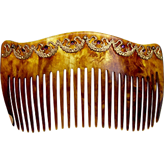 Late Victorian faux tortoiseshell hair comb with metal embellishment hair accessory