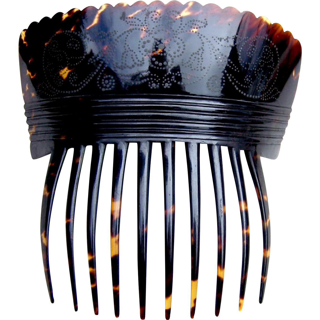 Georgian tortoiseshell hair comb Spanish style hair accessory with silver pique inlay