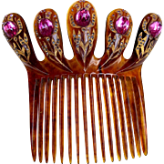 Victorian faux tortoiseshell hair comb Spanish style faux amethyst hair accessory