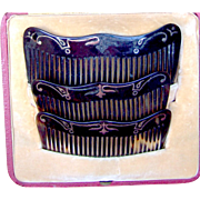 Three faux tortoiseshell hair combs with pique inlay boxed set hair accessories