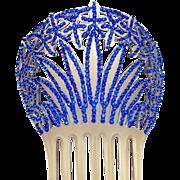 Art Deco hair comb blue rhinestone Spanish style hair accessory