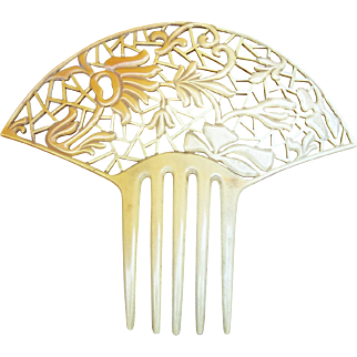 Art Deco hair comb French Ivory Spanish style hair accessory
