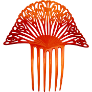 Large amber celluloid hair comb Spanish style Art Deco hair accessory