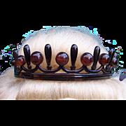 Victorian tiara headdress faux tortoiseshell with balls hair accessory coronet