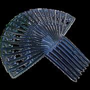 Art Deco hair comb Spanish style black celluloid hair accessory