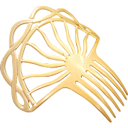 Art Deco Spanish style hair comb celluloid French Ivory hair accessory