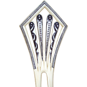 Art Deco French  Ivory hair comb Spanish hair accessory