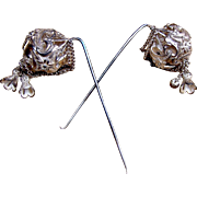 Pair of Victorian hair pins with dangles Moorish style hair accessories