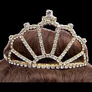 Vintage bridal rhinestone tiara mid century wedding headdress hair accessory