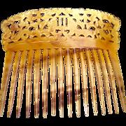 Regency steer horn hair comb Spanish mantilla style hair accessory
